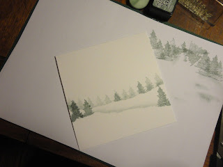 Snowy landscape - torn paper hills and trees