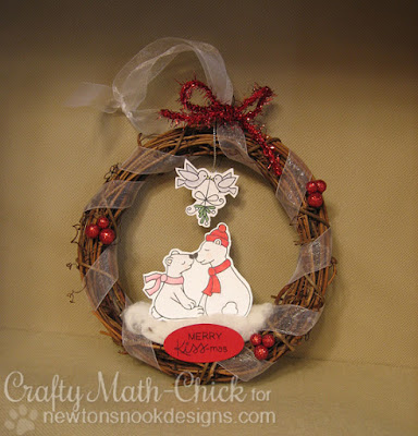 Smooching Polar Bears Wreath Ornament by Crafty Math Chick | Holiday Smooches by Newton's Nook Designs