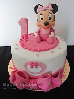 Bolo de 1º aniversário com a bebé Minnie