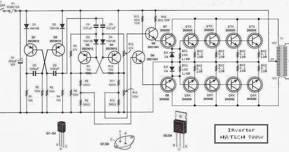simple 500w 12v to 220v inverter circuits wiring diagram diy. Black Bedroom Furniture Sets. Home Design Ideas