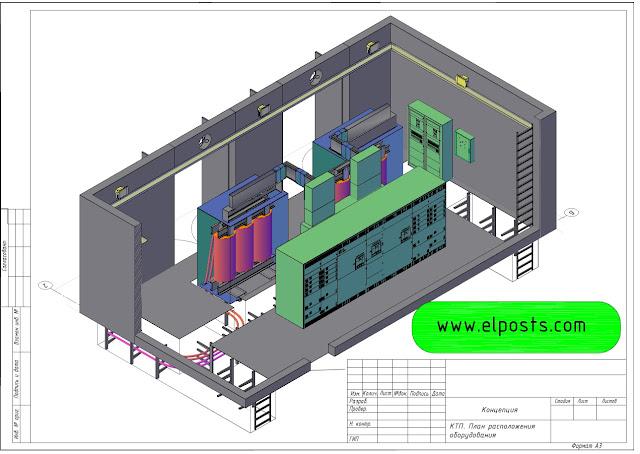 трансформаторная подстанция 2х2150 кВА 3D