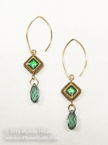 Gold and emerald earrings with green briolette drop.