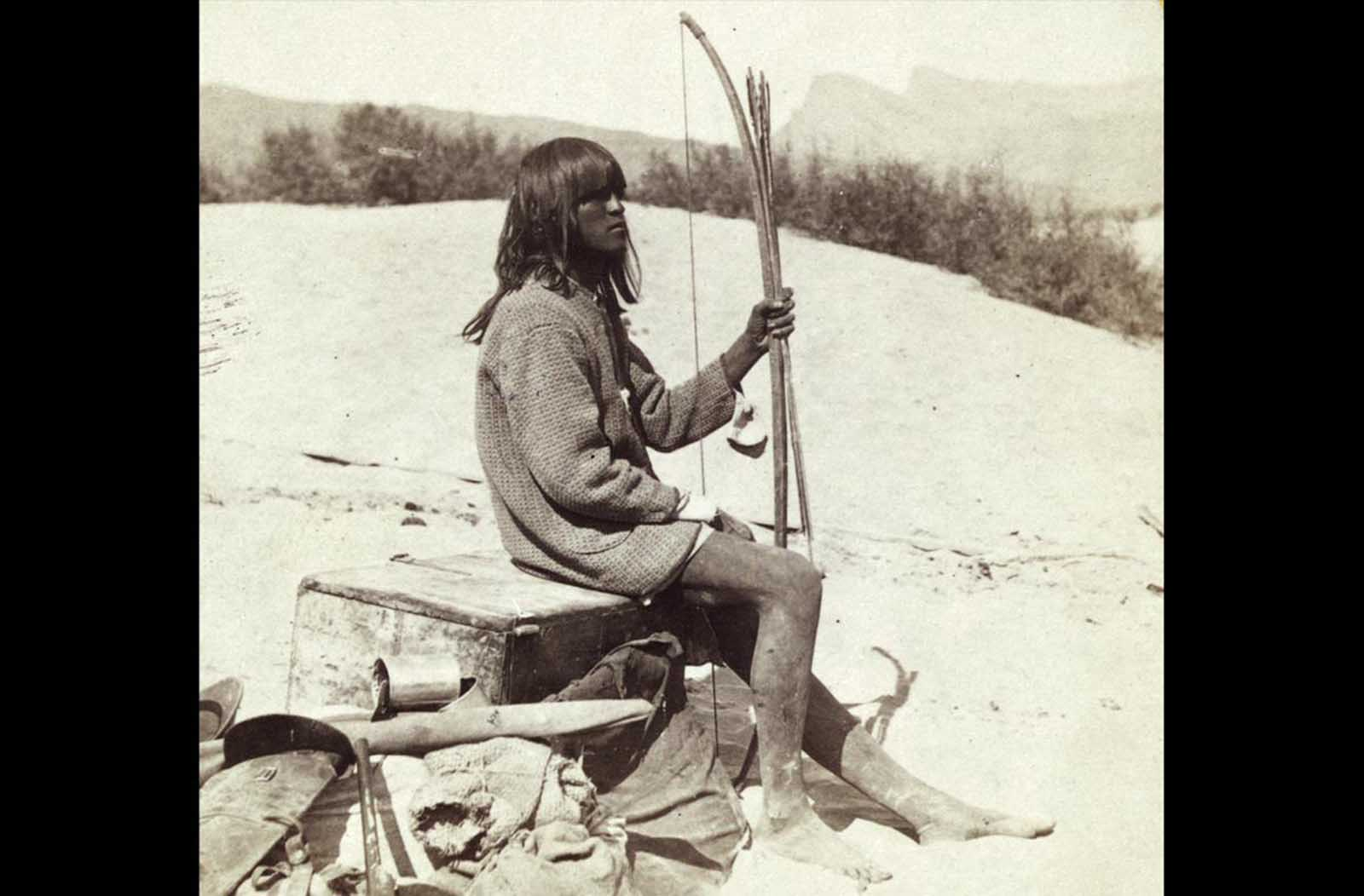 Maiman, a Mojave Indian, guide and interpreter during a portion of the season in the Colorado country, in 1871.