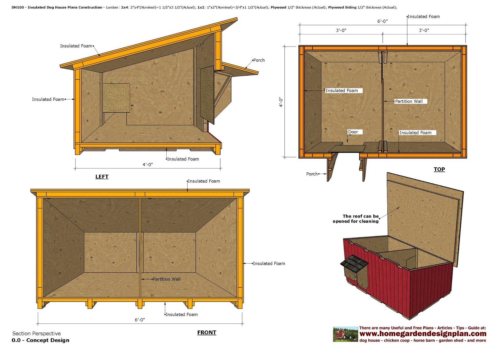 Home garden plans dh100 insulated dog house plans dog for Dog kennel floor plans