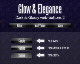 Dark & Glossy Web-Buttons PSD