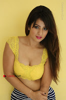 Cute Telugu Actress Shunaya Solanki High Definition Spicy Pos in Yellow Top and Skirt  0158.JPG