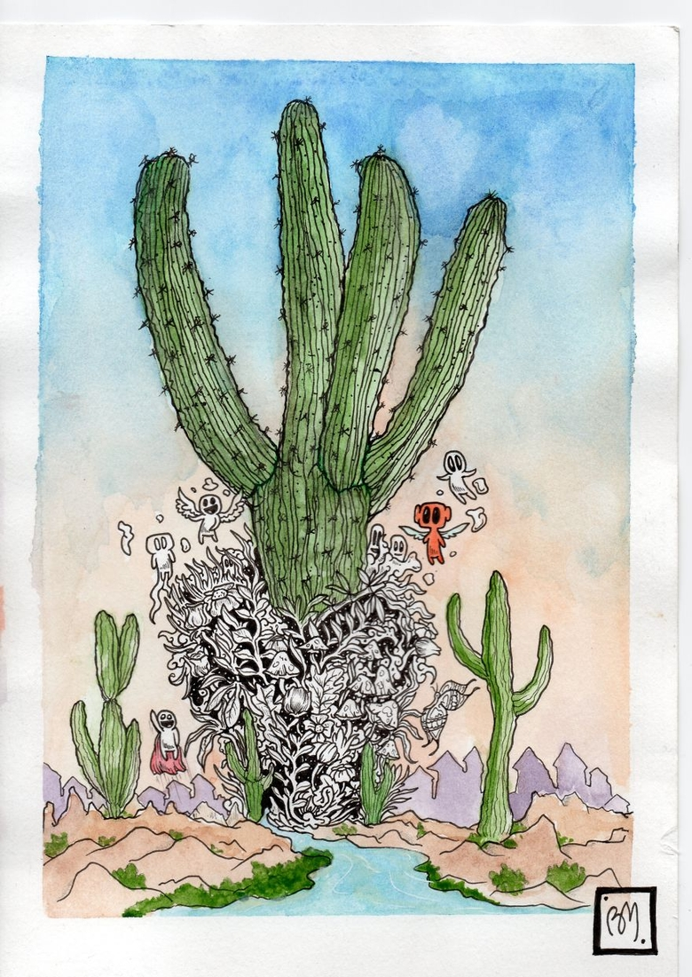11-Cactus-Braulio-Monteiro-Black-and-White-Drawings-and-Watercolor-Paintings-that-tell-a-Story-www-designstack-co
