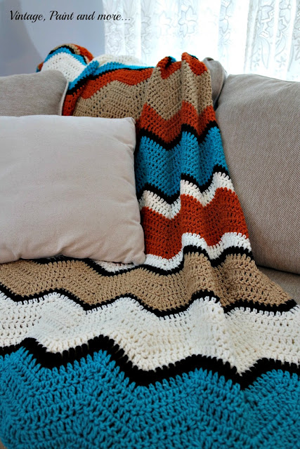 tribal inspired crochet ripple pattern afghan