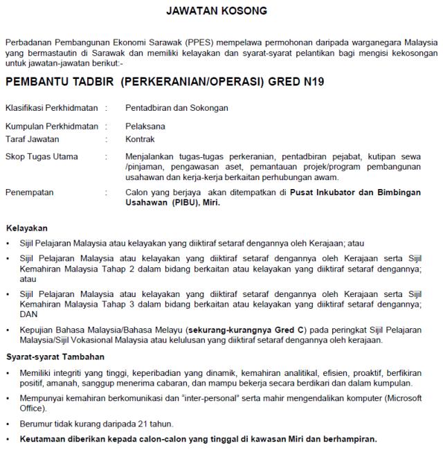 Jawatan Kosong Perbadanan Pembangunan Ekonomi Sarawak Ppes Tarikh Tutup 10 Mac 2019 Jawatan Kosong Kerajaan 2020 Terkini