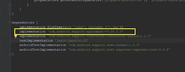 langkah mengatasi error Unable to resolve dependency for 'app@debugcompileClasspath' Could not resolve com.android.supportappcompat-v728.0.0-alpha1 di android studio setelah update