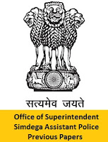 Office of Superintendent Simdega Assistant Police Previous Papers