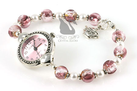 A Time For Tea Venetian Pink Pearl Beaded Watch (W08)