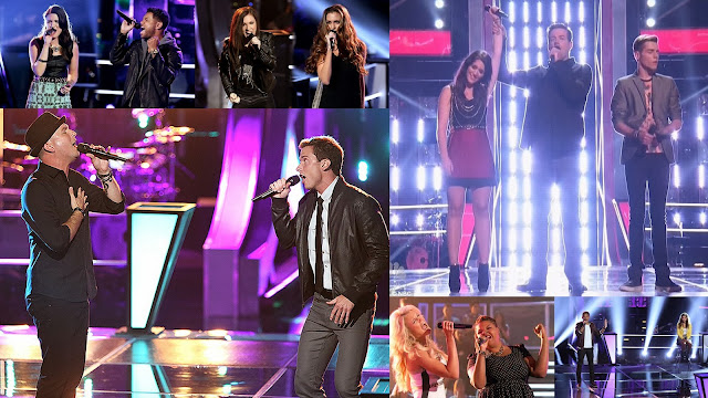 Contestants giving singing performances in knockout rounds of The Voice