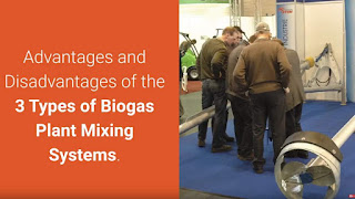 Image shows delegates at an exhibition looking at a biogas mixing system.