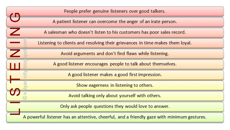 important points about listening