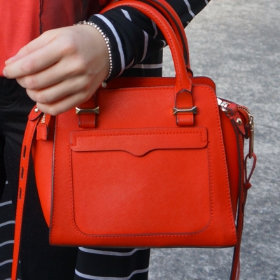 Rebecca Minkoff red micro Avery cross body bag on arm | awayfromtheblue