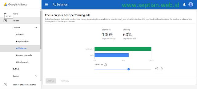 pengertian ad balance adsense adalah fitur untuk memangkas impression sehingga cpc dan ctr naik