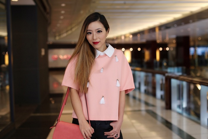 Sister Jane Rituals Double Layer Shirt Top With Tassel Detail, pink saddle bag, christian louboutin so kate pink pumps, blank denim moto pants, baublebar ring, spring outfit, new york fashion week