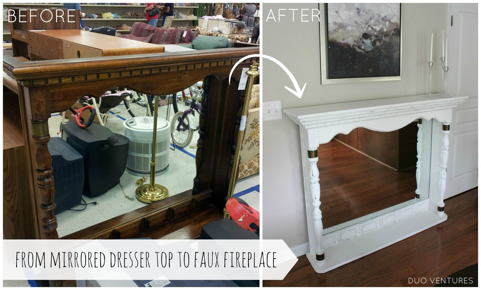 Duo Ventures: Dresser Top to Faux Fireplace