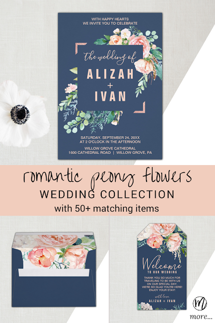 romantic peony flowers watercolor wedding invitation, coordinating floral envelope, and matching elegant welcome gift tag