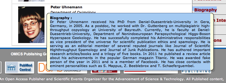 Funny Fake Names: The Tree Of Life: Scary And Funny: Fake Researcher Peter