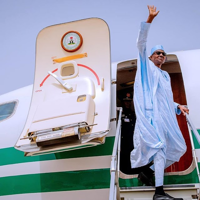 President Buhari Arrived Abuja In Style After Postponement Of The Election(pics)