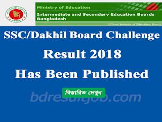 SSC/Dakhil/Equivalent Board Challenge Result 2018