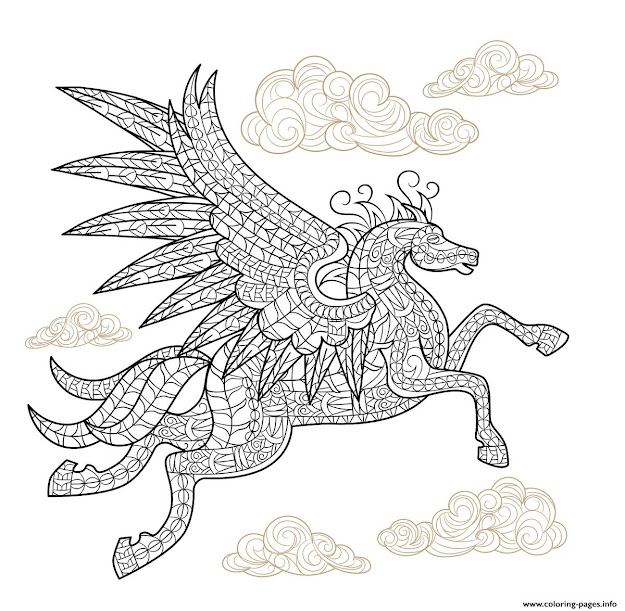 Pegasus Winged Horse Hard Advanced Adult Animal Coloring Pages Printable