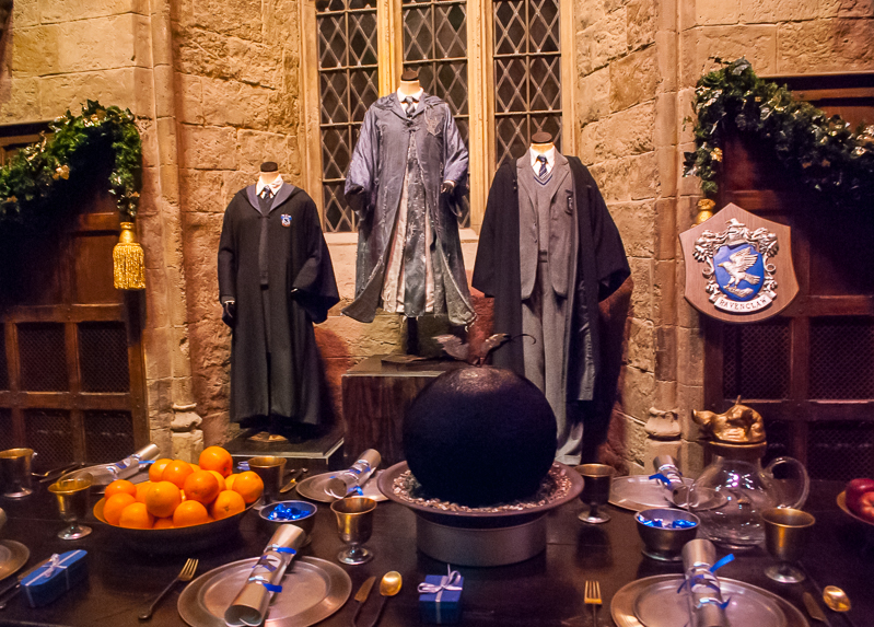 The table set of the Grand hall and prefects attire in Harry Potter Studios, Engalnd