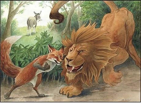 Αποτέλεσμα εικόνας για μὐθος λιοντάρι και αλεπού