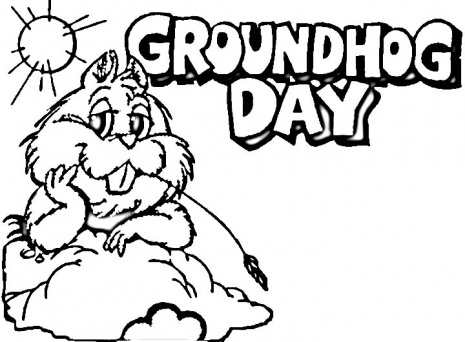 This is a photo of Enterprising Ground Hog Coloring Sheet