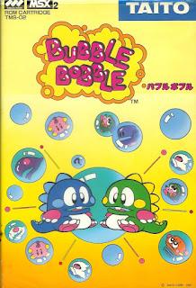 Portada del cartucho de MSX de Bubble Bobble, 1987