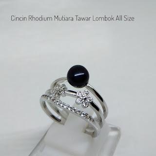 Jual Beli Mutiara Lombok Cincin Bahan Rhodium