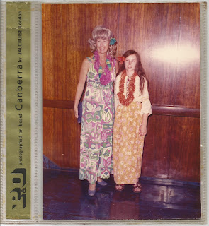 Me and Mom at a Hawaii party aboard the SS Canberra
