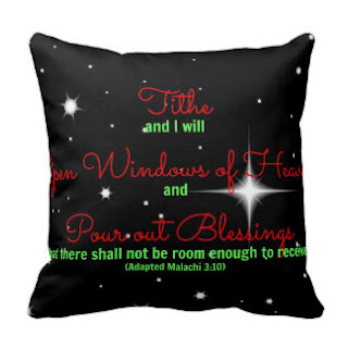 Tithe and I will open windows of heaven and pour out blessings so that there shall not be room enough to receive (Adapted Malachi 3:10) throw pillow