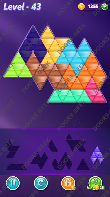 Block! Triangle Puzzle 8 Mania Level 43 Solution, Cheats, Walkthrough for Android, iPhone, iPad and iPod