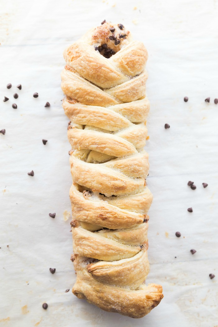 golden brown puff pastry braid with chocolate and cream cheese