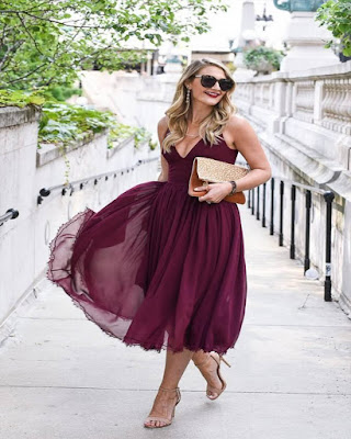 red wine summer long red dress with v neckline