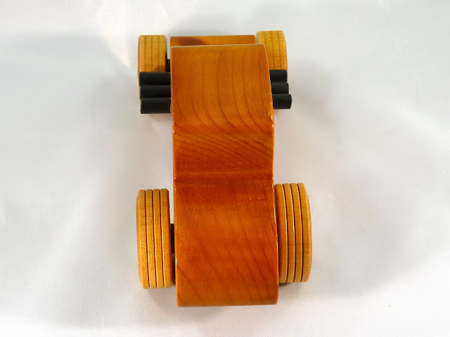 Top Rear - Wooden Toy Car - Hot Rod Freaky Ford - 37 T Coupe - Pine - Amber Shellac - Metallic Green Hubs