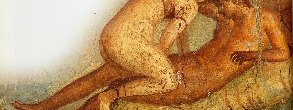Banneret fra forskerbloggen «Kjønn før og nå» til Tor-Ivar Krogsæter. Bildet viser ei romerinne i ferd med å senke seg ned på en mann.