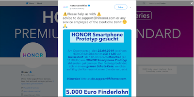 Honor lost a Prototype Phone and Offers 5,000 Euro Who Ever Returns It