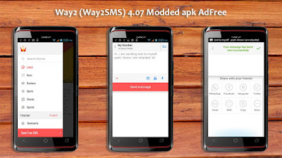 Way2 Way2SMS v4.07 Pro Modded AdFree APK http://www.nkworld4u.com/ Free SMS & Short News Android App