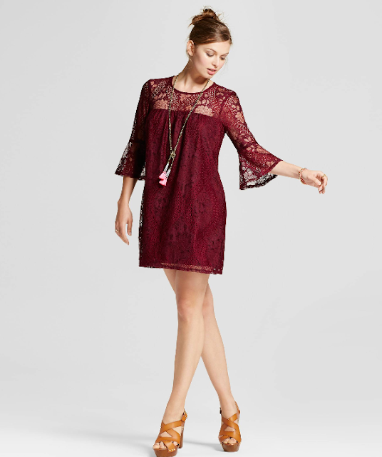 Burgundy bell sleeve dress