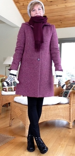 Theory shirt, Holt Renfrew cashmere sweater, Nordstrom scarf, Max Mara coat, Vince leggings, Stuart Weitzman boots.