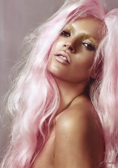Kate Moss in a pale pink wig