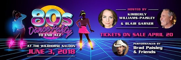 Dance party to end alz with brad paisley ticket sale update 2018 kimberly williams paisley blair garner will return to the wildhorse saloon to kick off the 2018 cma music festival week with the 2nd annual dance party to m4hsunfo