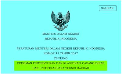 Permendagri nomor 12 tahun 2017; Pedoman Pembentukan dan Klasifikasi Cabang Dinas dan UPTD