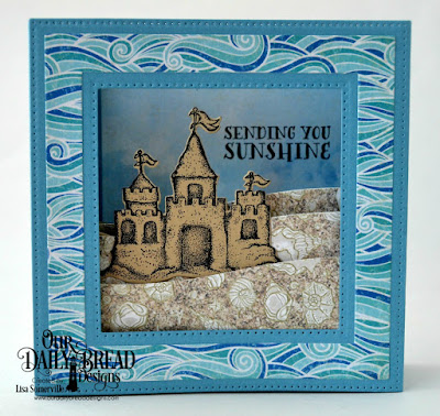 Stamp Set: Sending You Sunshine  Custom Dies: Sandcastle, Curvy Slopes, Squares, Diorama with Layers  Paper Collection: By the Shore