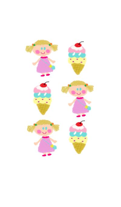 Cute girl x ice cream theme