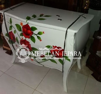 Nakas Bufet Finishing Cat Ducco Motif Bunga